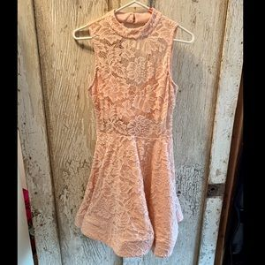 Light Pink Lace Keyhole Dress